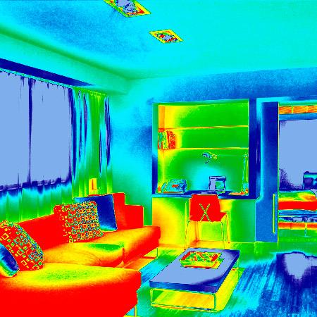 Simulación del uso de la termografía dentro de una vivienda
