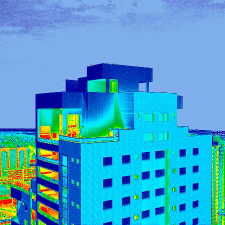 Simulación del uso de la termografía en un edificio