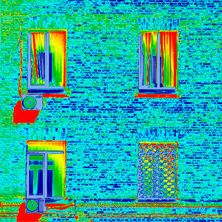 Simulación del uso de la termografía en una fachada